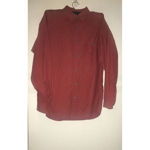 Patagonia Red Herringbone Organic Cotton Button Up